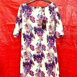 Vertigo short sleeve floral print sheath dress.